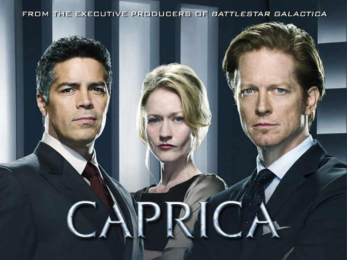 series SYFY Battlestar Galactica when Caprica mythology cylon race virtual worlds technology corruption betrayal war claustrophobic SF fans storyline Eric Stoltz Daniel Graystone Esai Morales Joseph Adama pay live Matrix MMORPG audience continued TV series