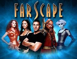 series Farscape SF TV series John Crichton Ben Browder and Aeryn Sun Claudia Black characters Leviathan Luxan warrior Ka D'Argo blue Pa'u Zotoh Zhaan Dominar Rygel alien society Hallmark Entertainment Nine Network and Jim Henson's Creature Shop Doctor Dolittle The Hitchhiker's Guide to the Galaxy Babe Scorpius Looney Tunes cartoon comedy Sci Fi Peacekeeper Wars miniseries story